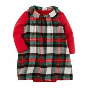 Carters Red Plaid Flannel Jumper Dress CHRISTMAS
